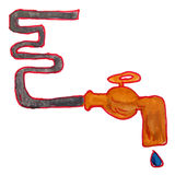 Drawing cartoon kids watercolor plumbing on white Royalty Free Stock Image
