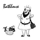 Drawing cartoon man in the bath comic  illustration Stock Image