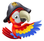 Parrot pirate pointing. A drawing of a cartoon parrot pirate character leaning round a sign or banner and pointing with his or her wing Stock Image