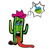 Drawing cartoon plant tequila cactus in heat wants Royalty Free Stock Photography