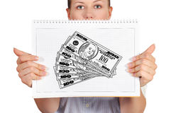 Drawing cash Royalty Free Stock Photography