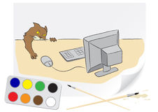 Drawing cat and computer Royalty Free Stock Photos