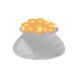 Drawing cauldron gold coin st patricks day. Illustration eps 10 Stock Illustration