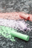 Drawing with chalk on asphalt, Stock Photo