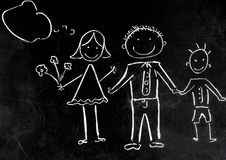Drawing with chalk on the black background of the family royalty free stock photos