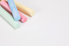 Drawing chalk sticks closeup with white copy space Royalty Free Stock Photography