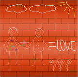 Drawing with chalk on the wall Royalty Free Stock Photos
