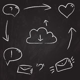 Drawing on the chalkboard: communication and interaction illustration Stock Image