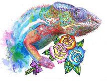 Drawing of chameleon with roses royalty free illustration