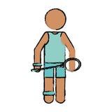 Drawing character badminton player racket green uniform. Vector illustration eps 10 Royalty Free Stock Image