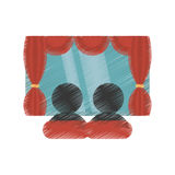 Drawing character movie cinema screen Royalty Free Stock Image