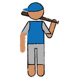 Drawing character player baseball with bat blue cap Stock Photography