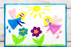 Drawing: Charming fairies and flowers. Magical land Stock Photo