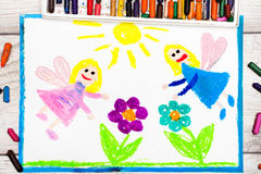 Drawing: Charming fairies and flowers. Magical land. Photo of colorful drawing: Charming fairies and flowers. Magical land Stock Photo