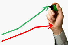 Drawing a chart. A businessman's hand drawing a chart with a green marker Royalty Free Stock Image