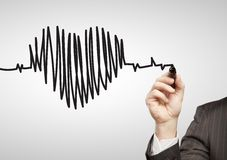 Drawing chart heartbeat Royalty Free Stock Images