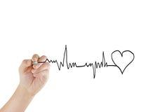 Drawing chart heartbeat. Man hand drawing chart heartbeat royalty free stock photo