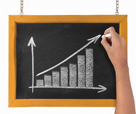 Drawing chart representing growth. Hand drawing chart representing growth on blackboard Stock Image