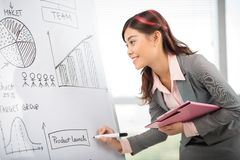 Drawing charts for presentation. Young business lady drawing charts for presentation on the whiteboard Stock Photo