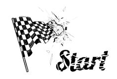 Drawing checkered flag in the dynamic style Royalty Free Stock Photos