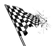 Drawing checkered flag with tire track Royalty Free Stock Image