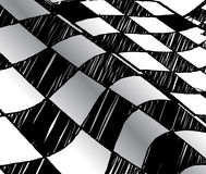 Drawing checkered flag with tire track Stock Photography