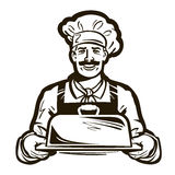 Drawing of a chef with hat and hot plate tray. hand drawn vector illustration Royalty Free Stock Photography
