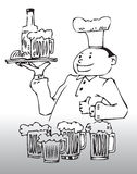 Drawing of chef or waiter  Stock Photos