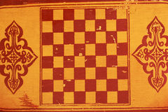 Drawing chess Board on wooden surface. Drawing a chess Board on a wooden surface Royalty Free Stock Photography