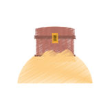 drawing chest pirate wooden closed treasure sand sea Stock Photos