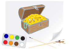 Drawing chest of treasures Stock Images