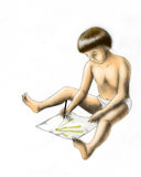 Drawing child (colored) Royalty Free Stock Photo