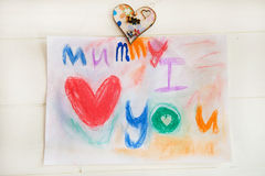 Drawing from Child for Mummy Stock Image