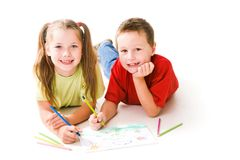 Drawing children Stock Photography