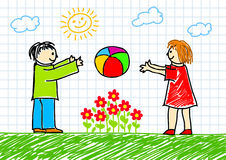Drawing of children Stock Images