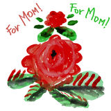 Drawing children flowers for Mom Royalty Free Stock Images