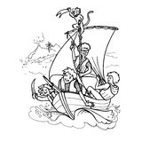 Drawing children playing pirate with a monkey on a sailing boat Stock Photography