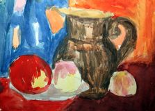 Drawing / Children's figure / Water color. Stock Photography