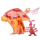Drawing a children watercolor ant cartoon house on a white backg. Round Royalty Free Stock Image