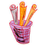 Drawing children watercolor basket, trash cartoon Royalty Free Stock Images