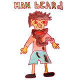 Drawing children watercolor beard cartoon man on a white backgro. Und Royalty Free Stock Images