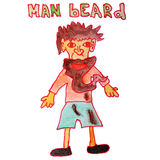 Drawing children watercolor beard cartoon man on a Stock Photos