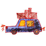 Drawing a children watercolor car cargo cartoon on Royalty Free Stock Photo