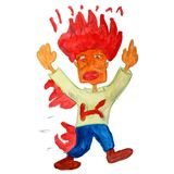 Drawing a children watercolor fire, cartoon people on a white ba. Ckground Royalty Free Stock Photo
