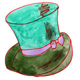 Drawing children watercolor hat, green cartoon on Royalty Free Stock Photography