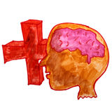 Drawing children watercolor head, cartoon cross on Stock Image