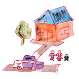 Drawing children watercolor house, yard cartoon on Stock Photo