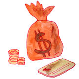 Drawing children watercolor money bag on a white Stock Images