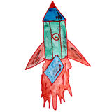Drawing a children watercolor rocket, green, red Stock Photo