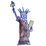 Drawing children watercolor statue, liberty Stock Photos